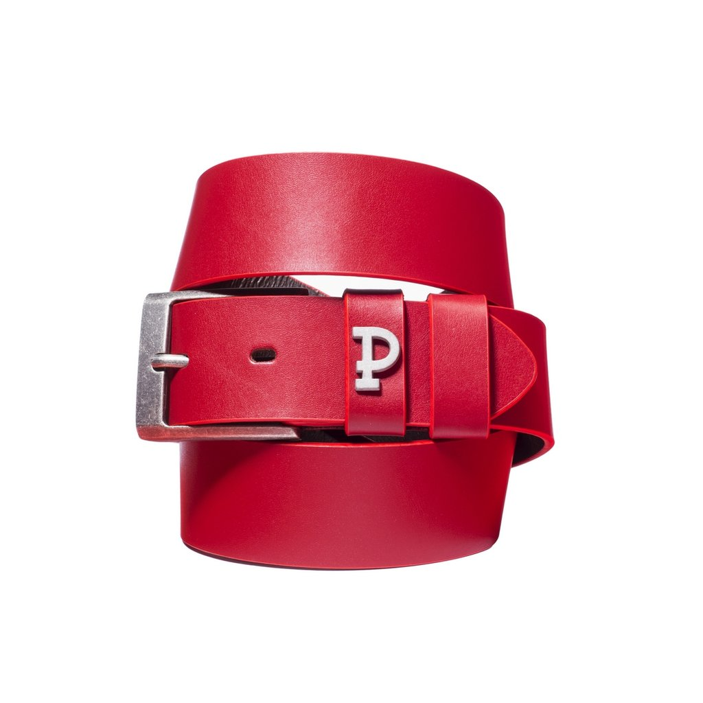 P LEATHERBELT PIN RED RED