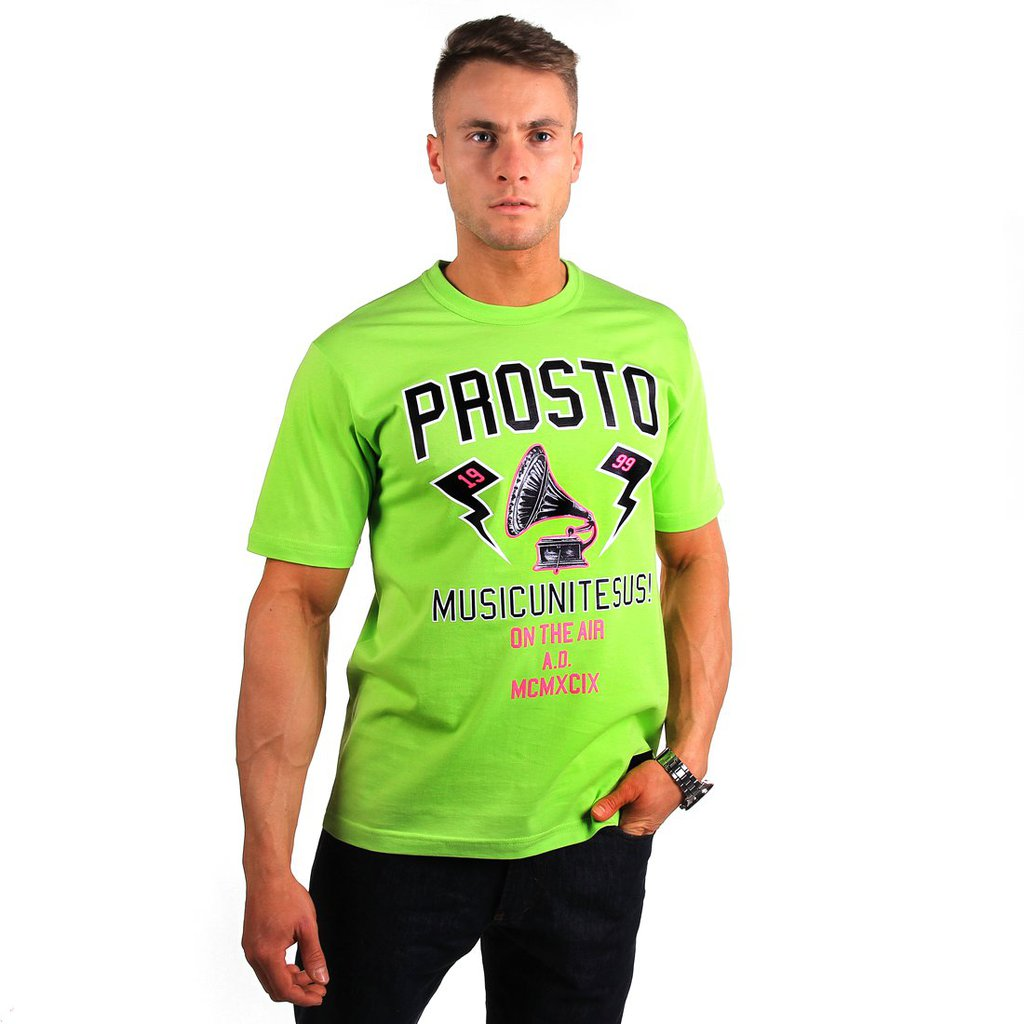 T-SHIRT VINTAGE SHINE FLUO GREEN