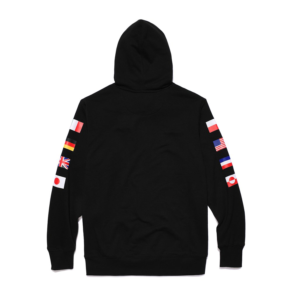 P HOODY FLAGS BLACK