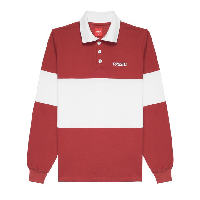 LONGSLEEVE POLO MALLE BORDO/WHITE