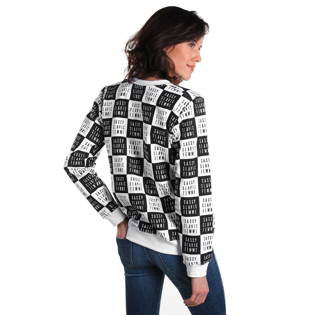 SWEATSHIRT CHECKER WHITE