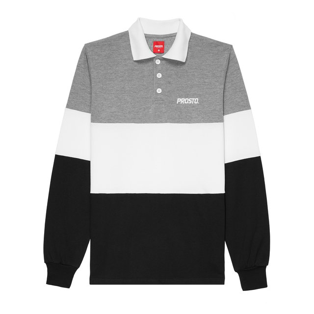 LONGSLEEVE POLO MALLE GREY/BLACK