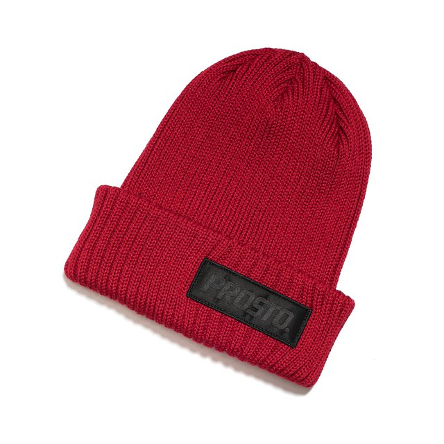 RIBBED WINTER HAT RED