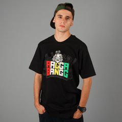 LA T-SHIRT LABEL RAGGA BANG BLACK