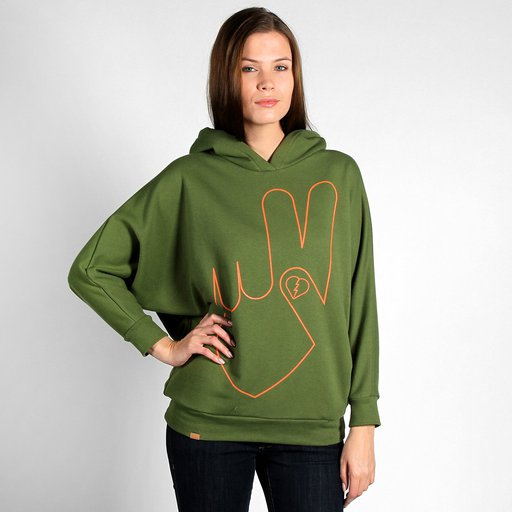 HOODY PEACE OLIVE