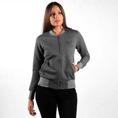 F.KL ZIPSWEATSHIRT QUILT PEPPER HEATHER GREY