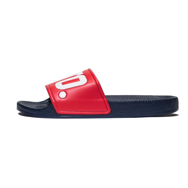 SLIPPERS NAVY & RED