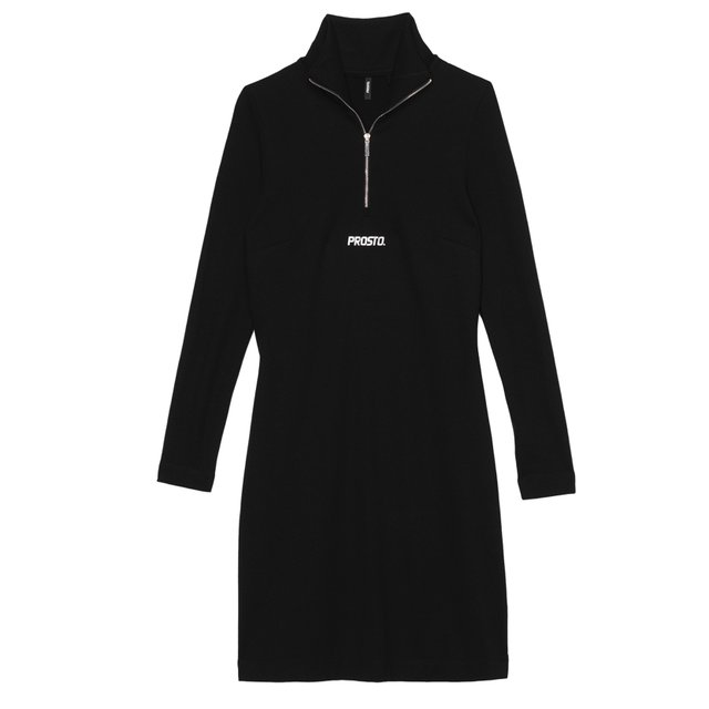 A LINE ZIP DRESS BLACK